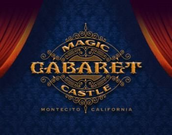 Blue and rust poster advertising Cabaret Magic Castle Montecito, California
