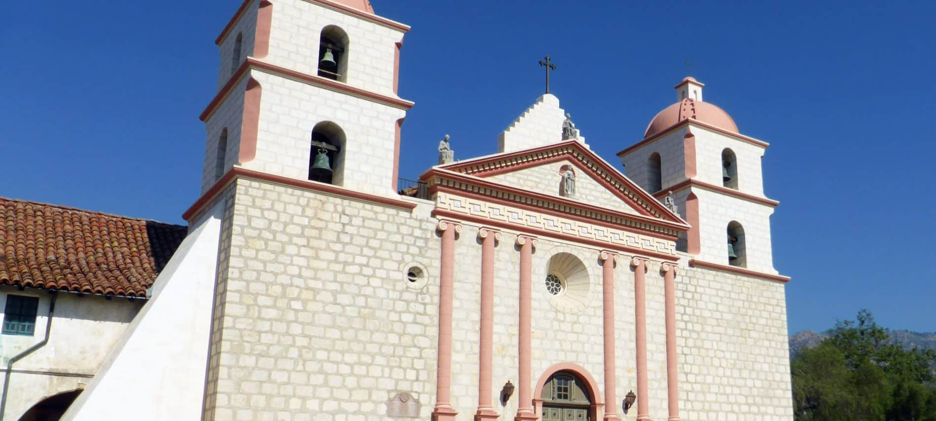 Exterior view of Santa Barbara Mission in pink and white