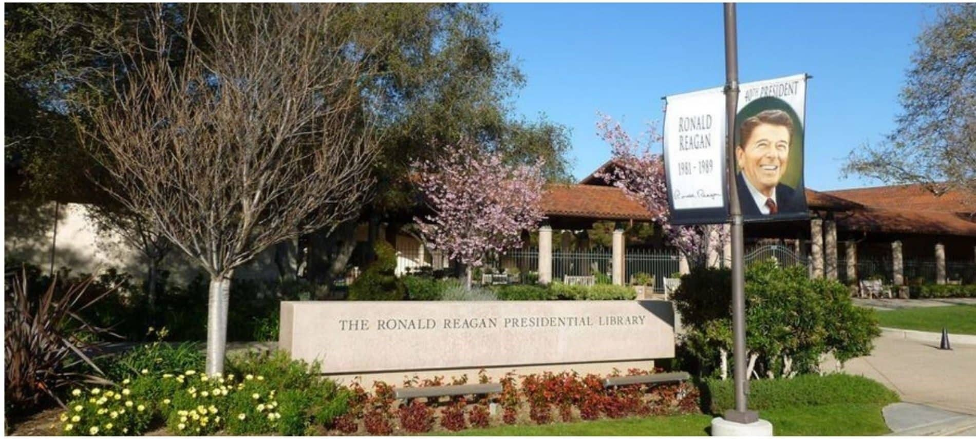 front of Ronald Reagan Presidential Library with fountain