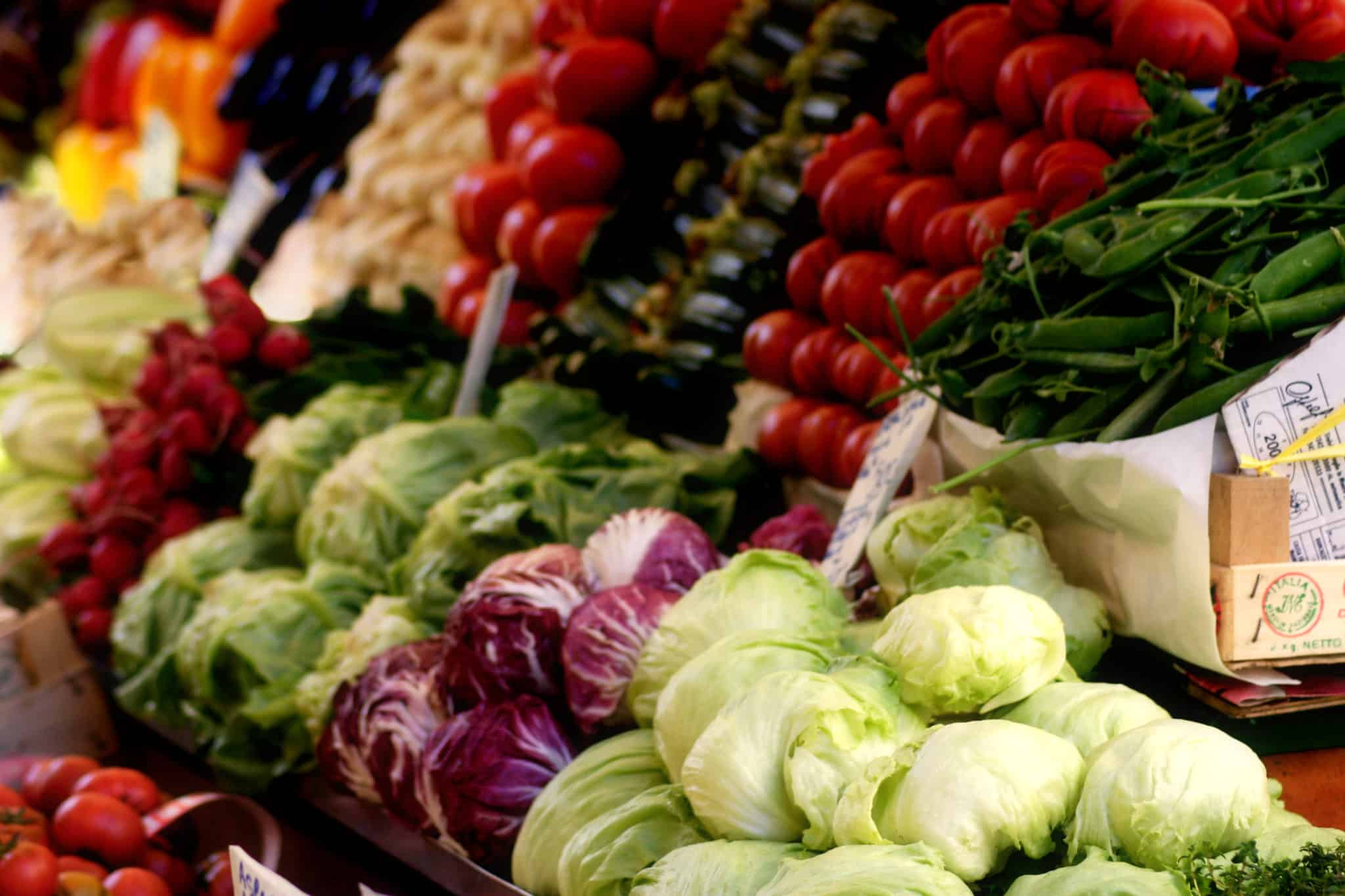 Rows of colorful produce